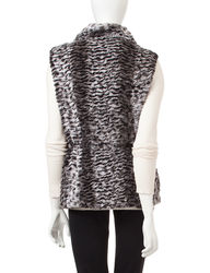 Gallery Women's Faux Fur Anorak Drawstring Vest - Black - Size:XL