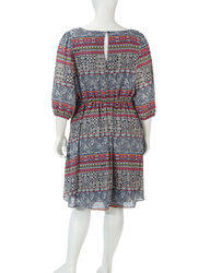 My Michelle Girls Multicolor Printed Boho Dress - Navy / Red - Size: 1X