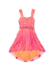 Rare Editions Girls Glitter Mesh Hi-Lo Dress - Orange/Pink - Size: 8/7-16