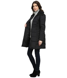 Anne Klein Women's 3/4 Down with Knit Collar Coat - Black - Size: One