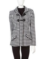 Rampage Women's Solid Color Toggle Closure Coat - Black/White -Size: Small