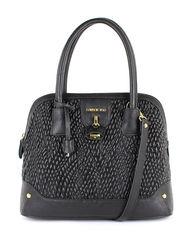 London Fog Women's Lark Quilted Dome Satchel Handbag - Black