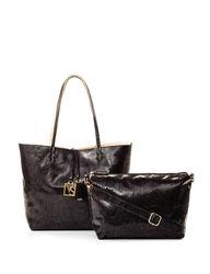 Valerie Stevens 2-Pc Python Print Reversible Tote Handbag - Black