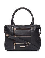 Rampage Women's Zipper Accent Satchel Handbag - Black - Size: One