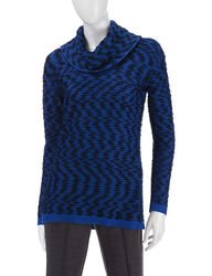 Calvin Klein Women's Marled Knit Sweater - Blue Multi - Size: XL