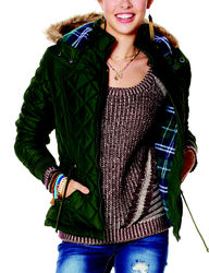 YMI Women's Hooded Puffer Jacket - Olive - Size: XL