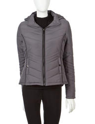 YMI Women's Quilted Grey Puffer Jacket - Charcoal - Size: Large