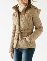 YMI Women's Quilted Puffer Jacket w/ Hood - White - Size: L