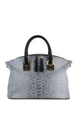 London Fog Women's Smithfield Faux Snake Skin Satchel Handbag - Grey