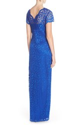 Marina Women's Scalloped Gramercy Lace Gown - Blue - Size: 16