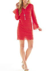Sharagano Women's Joplin Lace Dress - Red - Size: 14