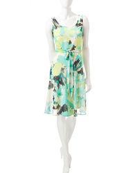 Madison Leigh Women's Floral Print Dress - Aqua - Size: 12