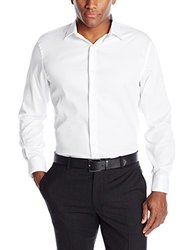 Axist Men's Solid Polished Twill Long Sleeve Woven Shirt - White - Size: L