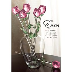 Pink Roses IN Vase 7pc Set
