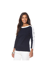 Chaps Three Quarter Sleeve Two-Toned Cotton Shirt