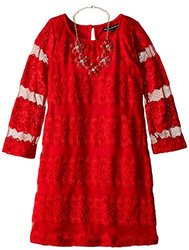 My Michelle Big Girls' All Over Lace Dress - Red - Size: 12