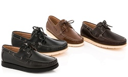 Franco Vanucci Men's Boat Shoes Brian-15 - Black/White - Size: 10.5