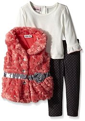 Baby Girls' 3 Piece Fur Vest Set Ribbon Rosette - Coral - Size: 24 Months