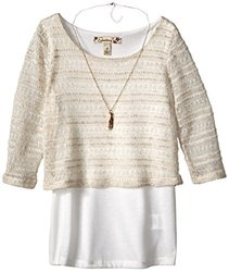 Speechless Big Girls' Cropped Top with Layering Tank - Ivory - Size: Med