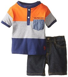 Baby Boys' CB Henley with Denim Short - Orange - Size: 12 Months