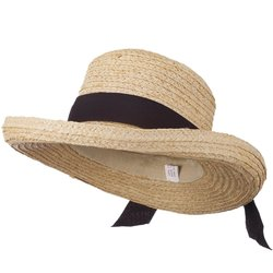 Jeanne Simmons Crushable Raffia Hat with Paper Straw Braid - Tan/Black