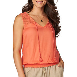 Democracy Women's Coral Embroidered Smocked Top - Coral - Size: S