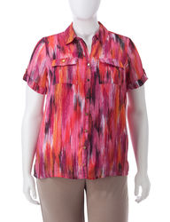 Women's Plus-Size Pink Tonal Layered-Look Shirt - Pink Multi - Size: 1X