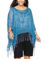 Energe Women's Poncho Fringed Embroidered Top - Malibu - Size: 1X