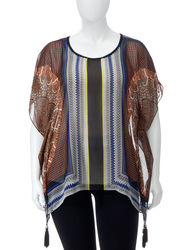 NY Collection Women's Plus-size Tribal Print Poncho Top - Black Multi - 2X