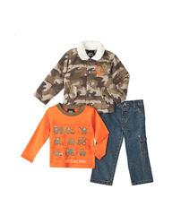 Boys Rock Baby Boys 3-Piece Camo Jacket Set - Olive - Size: 12-24/18 Month