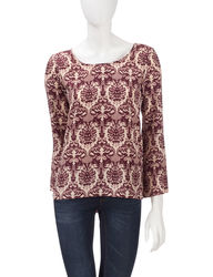 Signature Studio Women's Maroon Tapestry Lattice Back Top - Red - XL