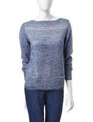 Leo & Nicole Women's Marled Knit Pocket Sweater - Purple - Size: L
