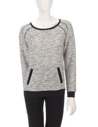 Cathy Daniels Women's Athleisure Textured Sweater - Black/White - Size:XL