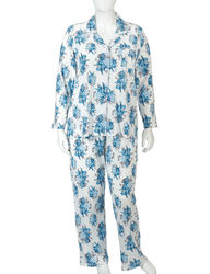 Laura Ashley Women's 2pc Floral Print Pajama Set - Ocean Chiswick - Sz: 3X