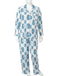 Laura Ashley Women's 2PC Floral Print Pajama Set - Ocean Chiswick - Sz: 3XL