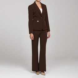 John Meyer Women's Notch Collar Pant Suit - Brown - Size: 8