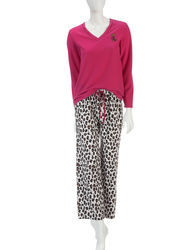 Hannah 2-pc Women's Pajama Set - Pink & Cheetah - Size: Medium