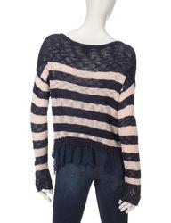 Pink Rose Women's Striped Knit Desert Pink Sweater - Desert Rose - Large