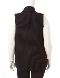 Signature Studio Women's Black Faux Fur Vest - Black - Size: 1X