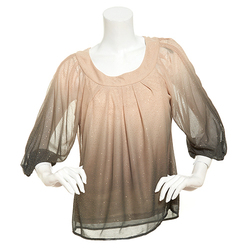 Sara Michelle Women's 3/4 Sleeve Glitter Top - Gold/Black - Size: PS