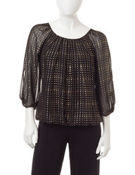 Sara Michelle Women's Petite Foil Bubble Top - Black/Gold - Size: P/S
