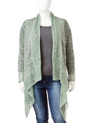 Energe Women's Plus-size Lace Draped Cardigan - Tan/Blue - Size: 1X