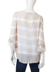 AGB Women's Multicolor Tie Dye Striped Top - Sand - Size: XL