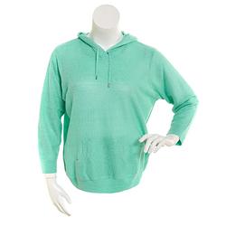 Cathy Daniels Women's Long Sleeve Hooded Sweater - Green - Size: 1X