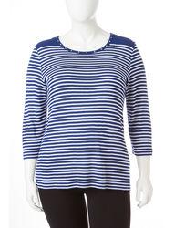 Cathy Daniels Women's Rhinestone Neck Sweater - Navy / White - Size: 1X