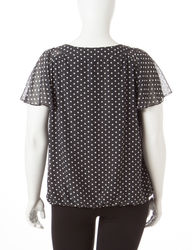 Rebecca Malone Women's Polka Dot Printed Blouse - Black / White - Size: 1X