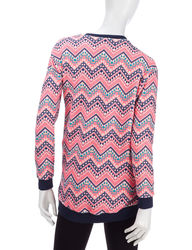 Self Esteem Women's Chevron Print Wooby Pull-Over Top - Coral - Sz: Medium