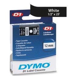 """DYMO D1 45021 White-On-Black Tape, 0.5"""" x 23'"""