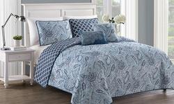 Geneva Home 5-Piece Reversible Annalise Quilt Set - Blue - Size: King