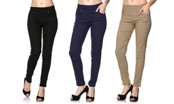 Women's 3-Pack Super-Stretch Skinny Pants - Black/Navy/Khaki - Size: L/XL